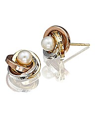 9ct Gold Three-Colour Pearl Earrings