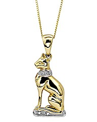 9ct Gold Diamond-Set Bast Cat Pendant