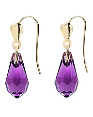 9ct Gold Crystal Drop Earrings