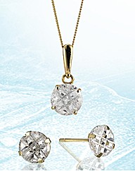 9ct Gold Round Pendant & Earrings Set