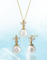 9ct Gold Freshwater Pearl Jewellery Set