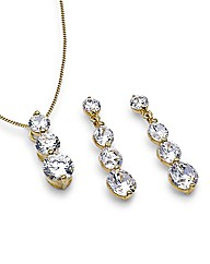 9ct Gold Cubic Zirconia Drop Set
