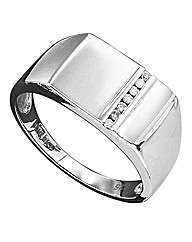 Sterling Silver Gents Diamond-Set Ring