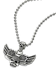 Stainless Steel Skull & Wings Pendant