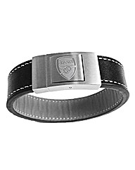 Leather & Steel Gents Football Bracelet