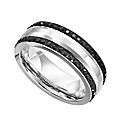 Stainless Steel & Black Crystal Ring