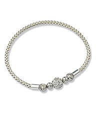 Sterling Silver Crystal Stretch Bracelet