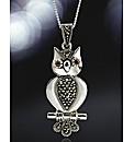 Sterling Silver Gemstone Owl Pendant