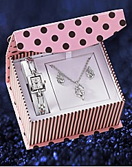 Watch Pendant & Earrings Gift Set
