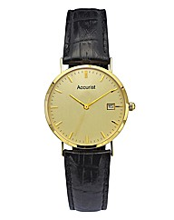 Accurist Gents 9 Carat Gold Strap Watch
