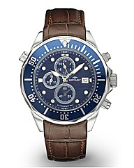 Rotary Gents Blue Dial Brown Strap Watch