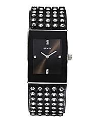 Seksy Ladies Black Glitzy Strap Watch