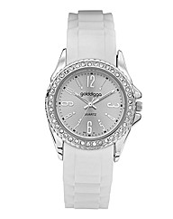 Golddigga Ladies White Strap Watch
