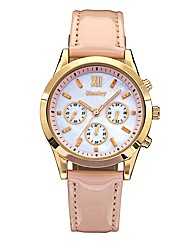 Ladies Pink Strap Rose-Tone Watch