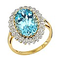 9ct Gold 6ct Blue Topaz and Diamond Ring