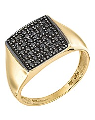 9ct Gold Gents Black Diamond Ring