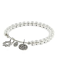 Redemption White Crystal Charm Bangle