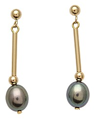 9 Carat Gold & Pearl Drop Bar Earrings