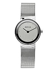 Ladies Silver-Tone Mesh Bracelet Watch