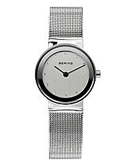 Ladies Silver-Tone Mesh Bracelet Watch