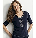 Basler Star Motif Jersey Top