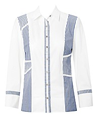 Stripe Panelled Fitted Shirt