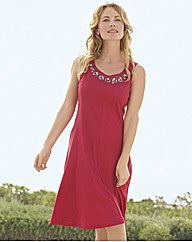 Pill Embellished Sleeveless Beach Dress