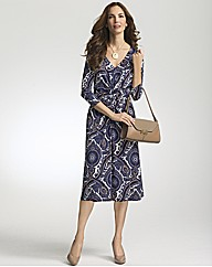 Gina Bacconi Paisley Print V Neck Dress