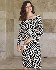 Chesca Silky Mid Length Spot Zip Dress