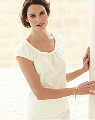 Anise Ivory Satin Top