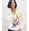 Cachemire White Butterfly Jumper
