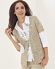 Lebek Tape Knit Short Sleeve Cardigan