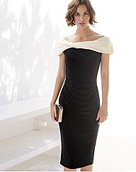 Gina Bacconi Twisted Collar Jersey Dress