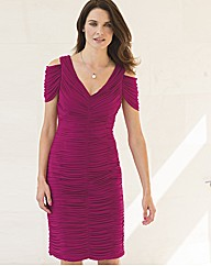 Gina Bacconi Ruched V Neck Mesh Dress