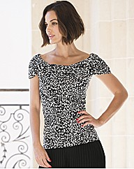 Gina Bacconi Twisted Collar Animal Top