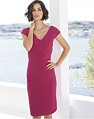 Gina Bacconi Pleated Bodice V Neck Dress
