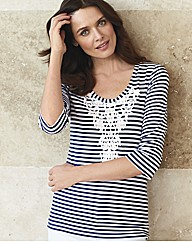 Gray & Osbourn Stripe Crochet Top