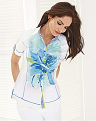 Just White Placement Print Crinkle Shirt