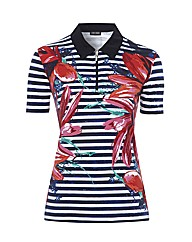 Gerry Weber Stripe Floral Polo Top