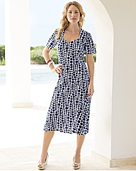 Spot Print Sweetheart Neck Dress