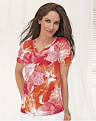Olsen Coral Large Floral Notch Neck Top