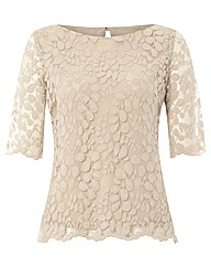 Gray & Osbourn Leaf Lace 3/4 Sleeve Top