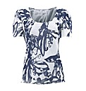 Gina Bacconi Graphic Print Silk Neck Top