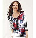 Gerry Weber Stripe Floral Print Jumper
