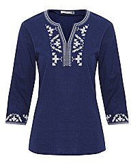 Woven Notch Neck Top With Embroidery