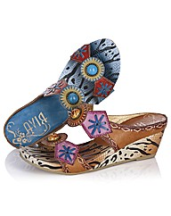Riva Patterned Print Leather Mules