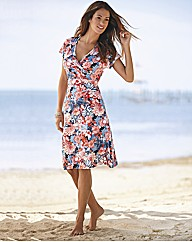 Lebek Mock Wrap Floral Jersey Dress