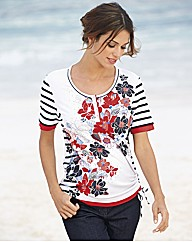Gelco Floral and Stripe Print Jersey Top