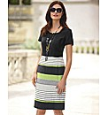 Frank Walder Stripe & Plain Shift Dress