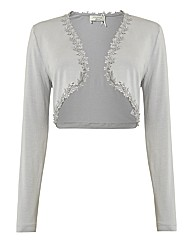 Apanage Jersey Shrug With Lace Trim
